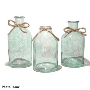 Glass Bud Vases w/ Twine Bows -Blue/Green Set Of 3